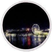 Ferris-wheel At The River Round Beach Towel