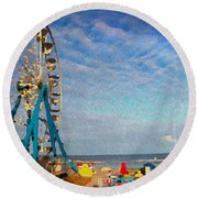 Ferris Wheel On A Gorgeous Day Round Beach Towel