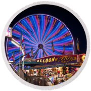 Ferris Wheel Rides And Games Round Beach Towel