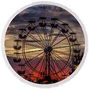 Ferris Wheel Sunset Round Beach Towel