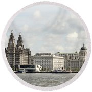 Ferry At Liverpool Round Beach Towel