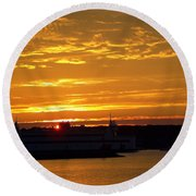 Ferry At Sunset Round Beach Towel