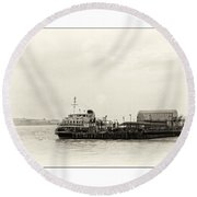 Ferry At The Terminal Round Beach Towel