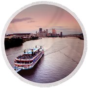 Ferry Boat At The Point In Pittsburgh Pa Round Beach Towel