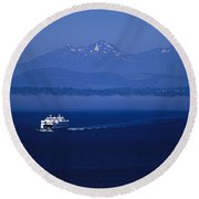 Ferry Boat In Puget Sound With Olympic Mountains Round Beach Towel