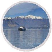 Ferry Boat On An Alpine Lake Round Beach Towel