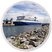 Ferry From North Sydney-ns To Argentia-nl Round Beach Towel