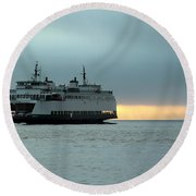 Ferry Sealth In The Fog Round Beach Towel