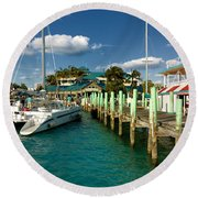 Ferry Station Paradise Island Round Beach Towel