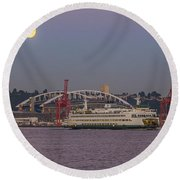 Ferry Under A Full Moon Round Beach Towel
