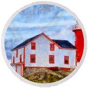 Ferryland Lighthouse In Newfoundland Round Beach Towel
