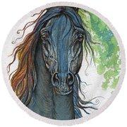Ferryt Polish Black Arabian Horse Round Beach Towel