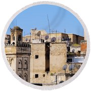 Fes Cityscape In Morocco Round Beach Towel