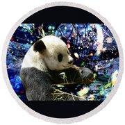 Festive Panda Round Beach Towel