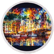 Few Boats - Palette Knife Oil Painting On Canvas By Leonid Afremov Round Beach Towel