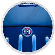 Fiat 750 Mm Zagato Panoramica Coupe Grille Emblem Round Beach Towel