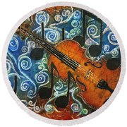 Fiddle 1 Round Beach Towel by Sue Duda
