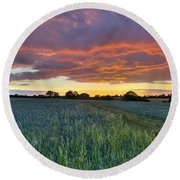 Field At Sunset Round Beach Towel