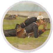Field Drill For The Prussian Infantry  Round Beach Towel