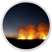Field Fire. Nchalo, Shire Walley Round Beach Towel