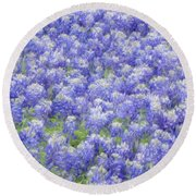 Field Of Bluebonnets Round Beach Towel