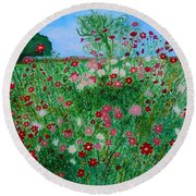 Field Of Cosmos Round Beach Towel