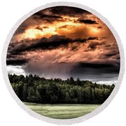 Field Of Dreams From Rain Above  Round Beach Towel