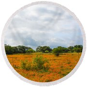 Field Ablaze Round Beach Towel