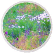 Field Of Flowers In Nature Round Beach Towel