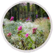 Field Of Flowers On A Rainy Day Round Beach Towel