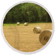 Field Of Freshly Baled Round Hay Bales Round Beach Towel by James BO  Insogna