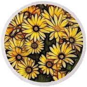 Field Of Gold Round Beach Towel