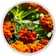 Field Of Marigolds Round Beach Towel
