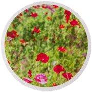 Field Of Poppies Digital Art Prints Round Beach Towel