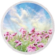 Field Of Poppies Stillliefe Round Beach Towel