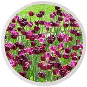 Field Of Purple Tulips 1 Round Beach Towel