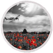 Field Of Red Round Beach Towel
