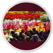 Field Of Tulips Ll Round Beach Towel