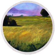 Field Textures Round Beach Towel