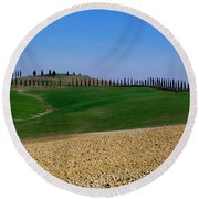 Field With Cypress Trees Round Beach Towel