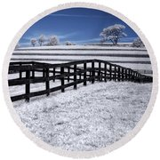 Fields And Fences Round Beach Towel