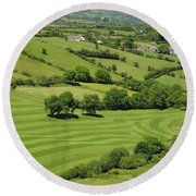 Fields In Northern Ireland Round Beach Towel