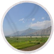 Fields Mountains Sky And A River Swat Valley Pakistan Round Beach Towel
