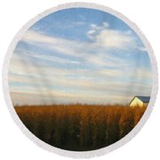 Fields Of Gold - Digital Painting Effect Round Beach Towel