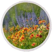 Fields Of Lavender And Orange Blanket Flowers Round Beach Towel