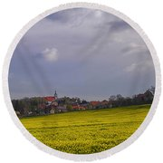 Fields Of Rapeseed In Bloom, Lower Round Beach Towel