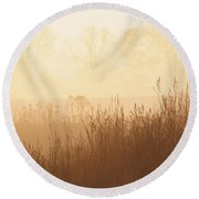 Fields Of Tall Grass In The Mist Round Beach Towel