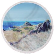 Fields With Rocks And Sea Round Beach Towel