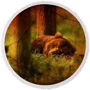 Fiercely Tired Round Beach Towel