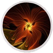 Fiery Round Beach Towel by Amanda Moore